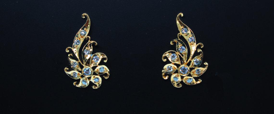 Peranakan Phoenix Tail Earrings (Sun)